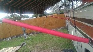 RV awning arm pool noodle