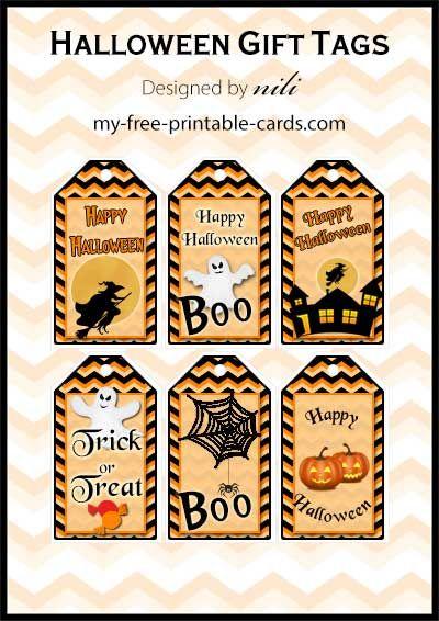 Free printable Halloween gift tags - my-free-printable-cards.com