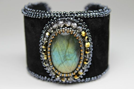 This bead embroidered labradorite black leather cuff is, jewelrys version of the little black dress - a beautiful black statement cuff! A large
