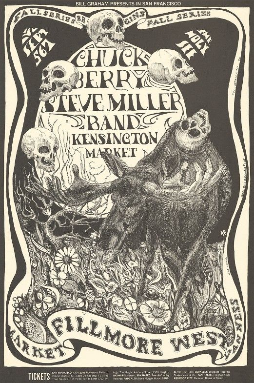 "Lee Conklin, ""Bill Graham Presents in San Francisco - Chuck Berry, Steve Miller Band, Kensington Market, September 5-7 [1968]."""
