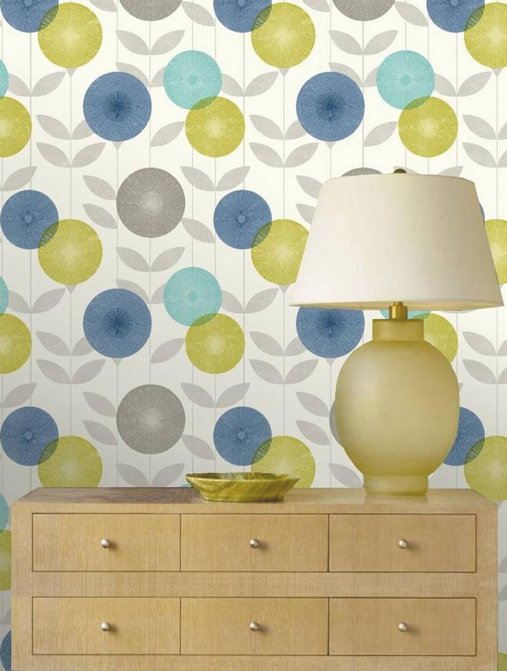 Blue Green Teal Wallpapers | Feature Wallpaper MONROE Teal Blue Green Grey Retro Floral Leaf Trail ...