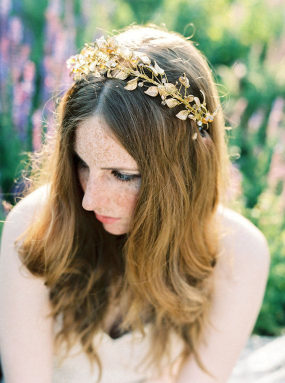 Golden bridal crown wreath hair accessory with mix of by beretkah