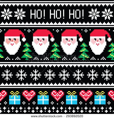Christmas jumper or sweater seamless pattern with Santa and presents #Xmas #embroidery #design