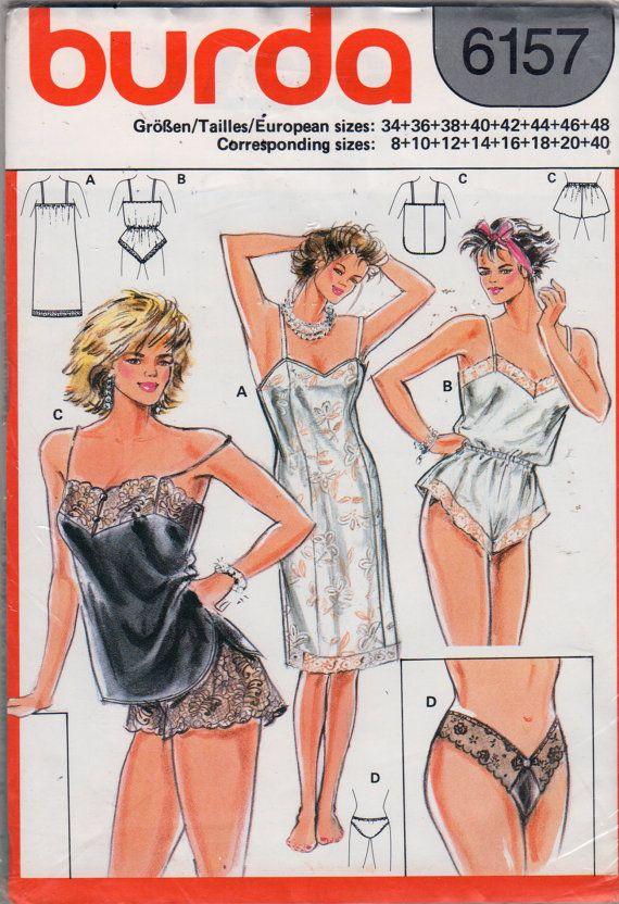 Burda 4262 Misses Lingerie Princess Seam Full Slip Teddy Camisole Wide Leg lace Panties Thong Panties womens sewing pattern by mbchills