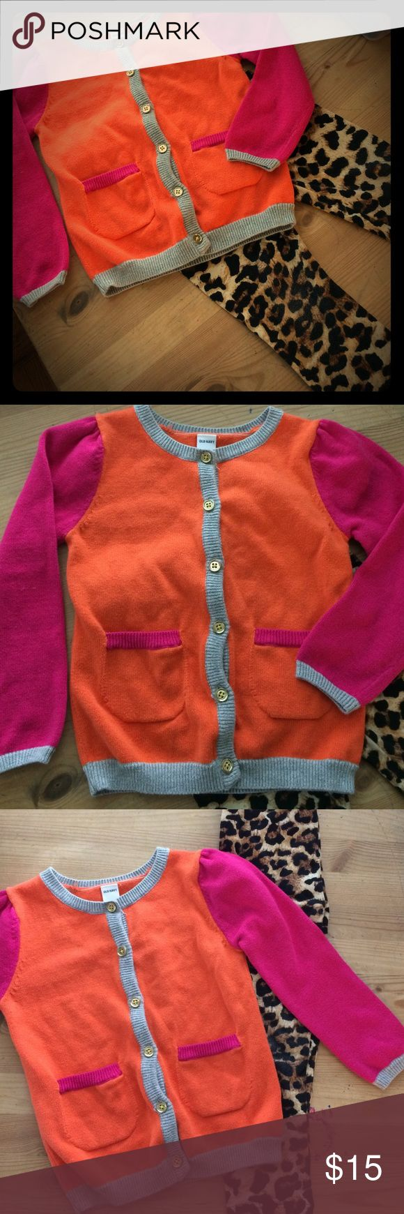 Girls Toddler Cardigan & Cheetah Leggings Bright orange & Pink Cardigan size 4T girls sweater with front pockets.Super soft cheetah print leggings unbranded 3T/4T gently Preowned very minimal light wear at the knees if you look close.Lots of life left in this cute set! Old Navy Bottoms Leggings