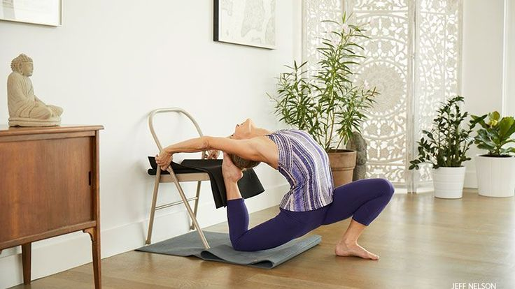 King Pigeon Pose with a Chair Carrie Owerko
