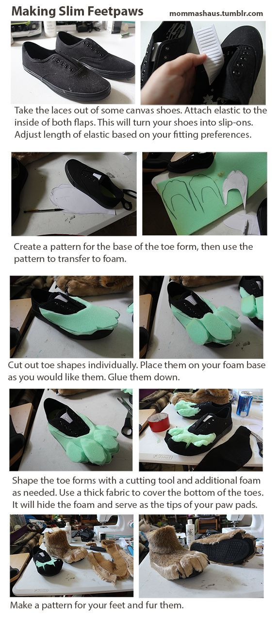 Thanks, Amy! Slim Feet Paw Tutorial Also found here http://mommashaus.tumblr.com/post/90186232173/slim-fursuit-feet-paw-tutorial-just-finished-a
