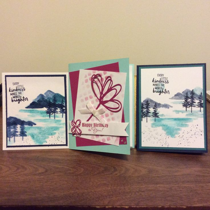 Water front stamp set & b- day card in middle