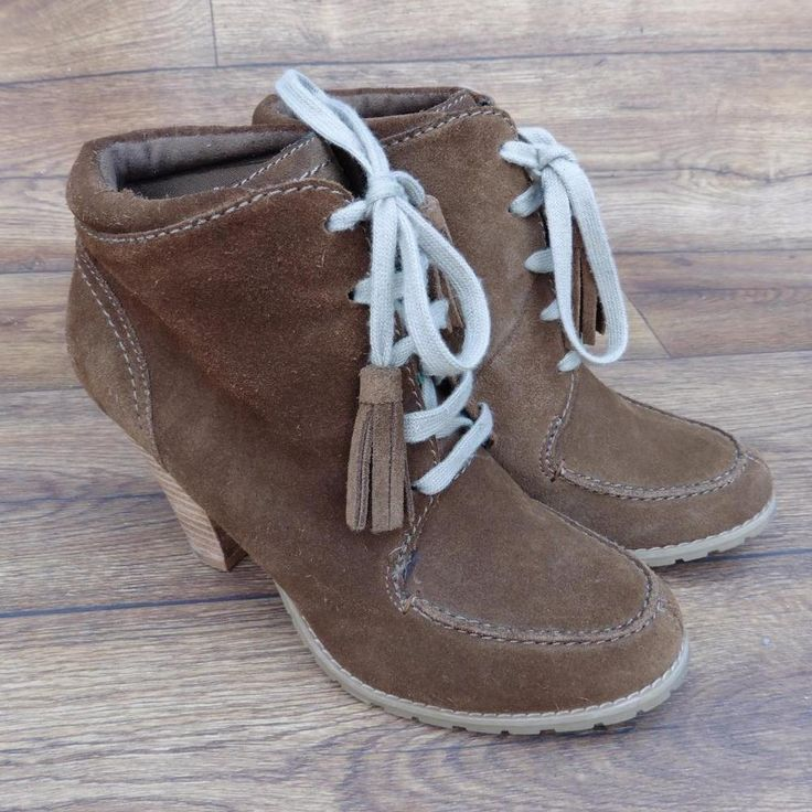 SIZE UK 5.5 LIMITED COLLECTION MARKS & SPENCER TAN SUEDE HIGH HEEL ANKLE BOOTS