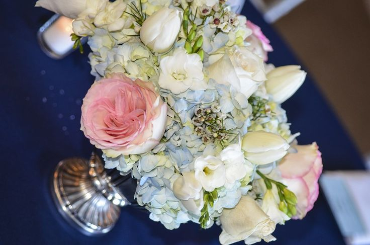 Blue pink and white floral centerpieces dominionhouse