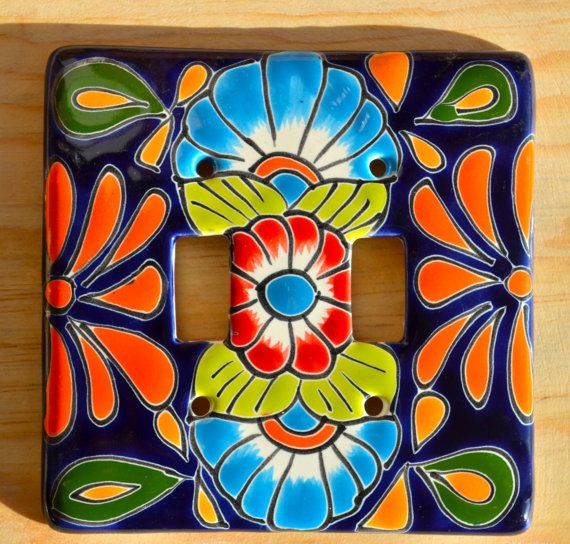 "Mexican Talavera Pottery wall art  5"" X 5"" light switch double toggle on Etsy, $16.00"