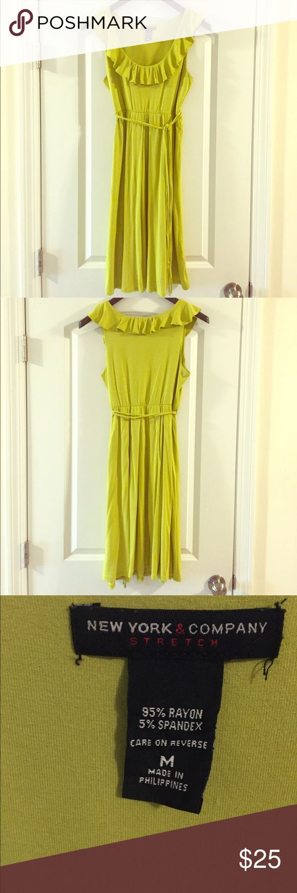 New York & Company dress with waist tie Yellow/green NY&Co dress with waist tie. Scoop neck front. Perfect for a summer night out. Size medium. EUC New York & Company Dresses