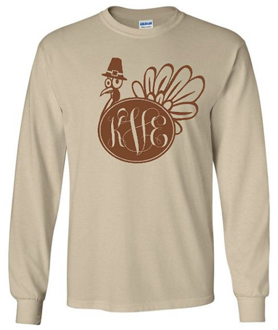 Hey, I found this really awesome Etsy listing at https://www.etsy.com/listing/207734713/monogram-turkey-adult-long-sleeve-t