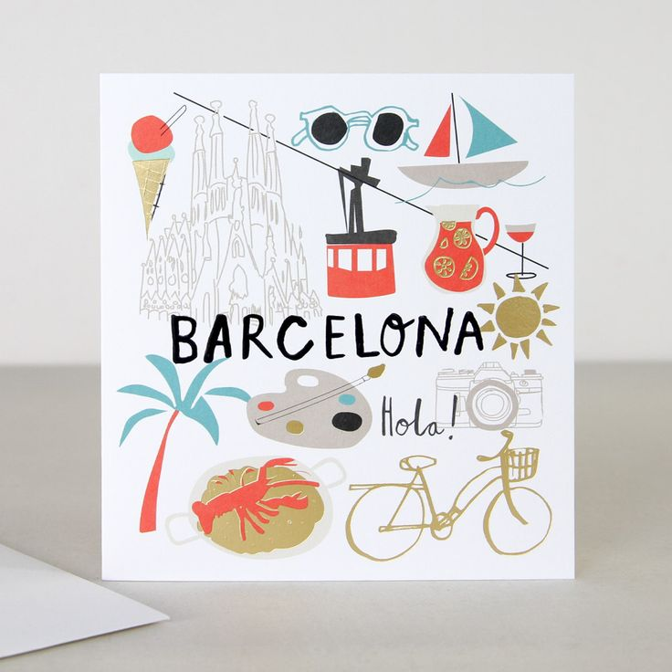 You Are Here Barcelona Travel Greeting Card | Caroline Gardner