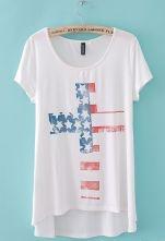 White Short Sleeve American Flag Cross Print T-Shirt $21.48 #SheInside