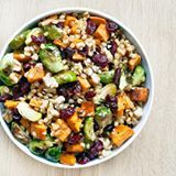 With brussels sprouts, sweet potatoes, cranberries, walnuts and lemon maple vinaigrette, this wheat berry salad doesn't hog valuable oven space and certain components can even be made a couple days before #Thanksgiving. Find the recipe on the blog ( link in profile).