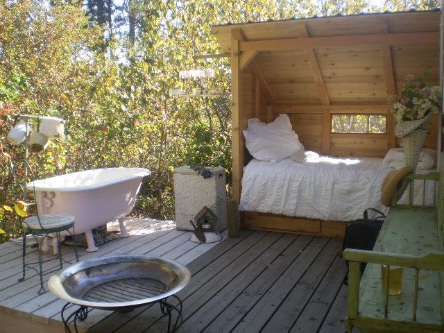 glamping in style.. tub & fire pit under the stars  @plantedathome.com