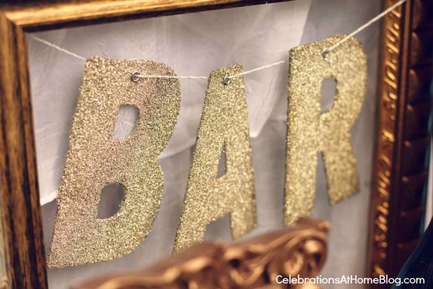 Glitter letters strung inside frame, or hang holiday cards with clothespins on the twine; I am imagining your frames look similar to this?