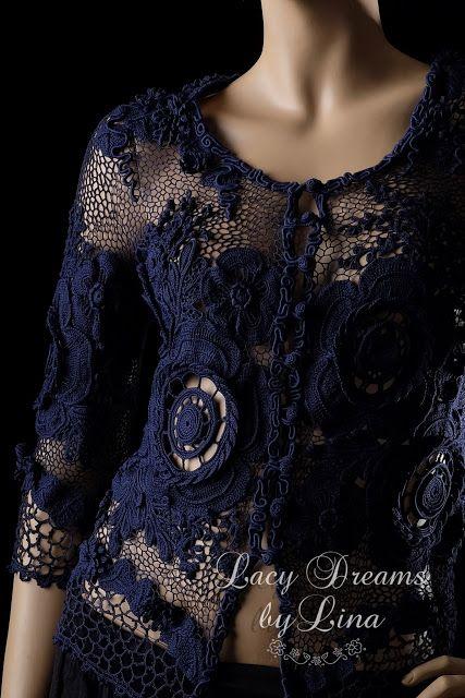 Lina Lace Desing: Navy blue silk jacket
