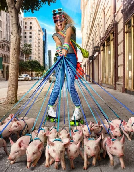Todd Baxter - Girl Rollerskating With Pigs - Picture Of The Day - ONE EYELAND 2013-02-26