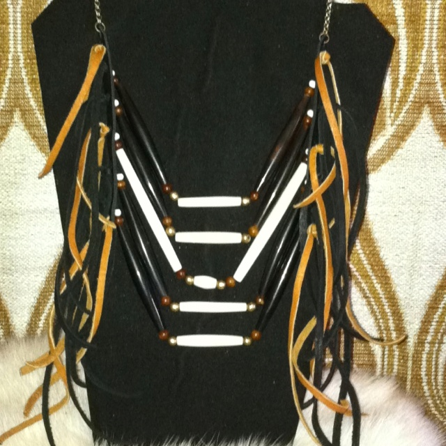 Buffalo bone & horn hairpipe with black & brown leather fringe chest piece