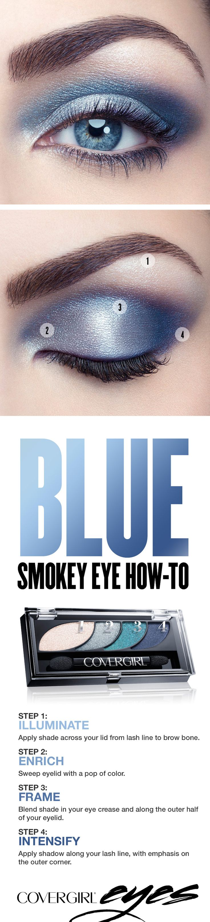 Try our simple step-by-step tutorial this holiday season for a dramatic blue smokey eye, featuring COVERGIRL Eyeshadow Quads in Breathtaking Blues. This makeup palette makes it easy to add festive color to your holiday look. Perfect for Christmas or New Year's Eve parties when you'd like to try something other than a standard black smokey eye.