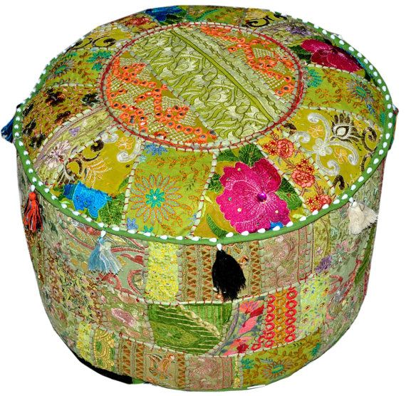 bohemian round indian ottoman patchwork pouf cocktail living room bean bag big hassock cover. Black Bedroom Furniture Sets. Home Design Ideas