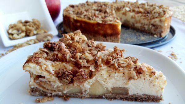 Ovesný dort s karamelizovanými jablíčky a vanilkovou nádivkou