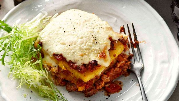 Australian House & Garden recipe for Polenta lasagne with meat sauce