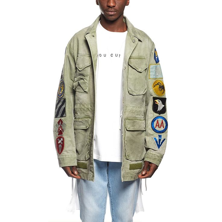 Field jacket with patches from the F/W2016-17 Off-White c/o Virgil Abloh collection in military green
