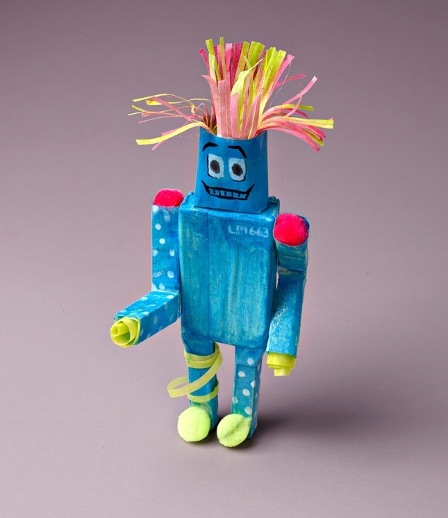 Several lessons from one project and lists standards  Measure a Recycled Robot lesson plan