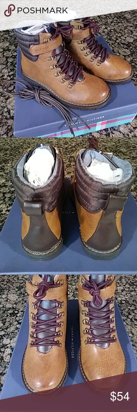 Tommy Hilfiger High Top Boots Tommy Hilfiger Jason High Top Boots boys size - 2 in brown. Lace up boots and come with a extra pair of Tommy leather laces too. Adjustable velcro strap on ankle. In perfect condition, brand new and never worn or tried on. Tommy Hilfiger Shoes Boots