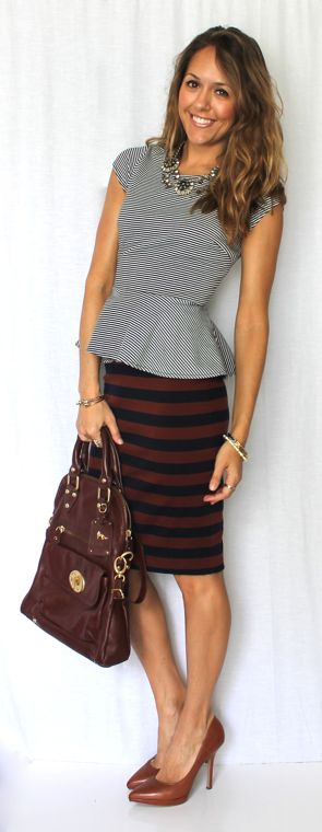 Peplum blouse with a pencil skirt to hide a little belly or create a curvier hip line.