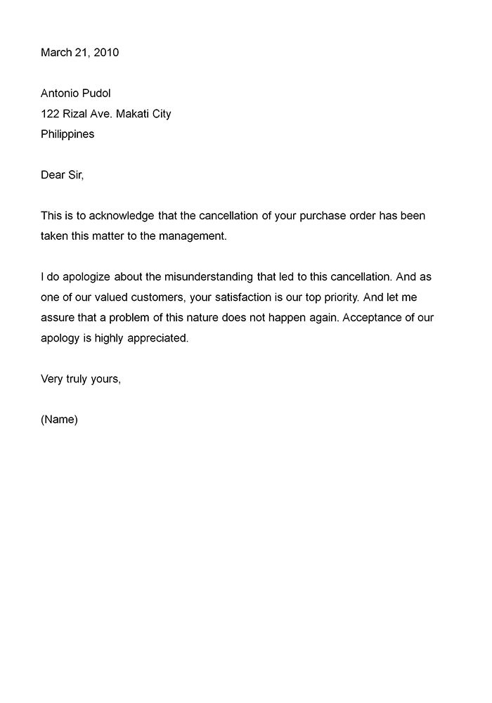 Business Apology Letter  This type of business apology letter would probably be addressed to