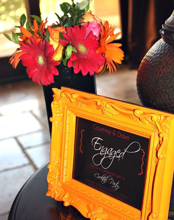Gerber Daisies - orange frame with chalkboard - could be used to write a menu or welcome sign