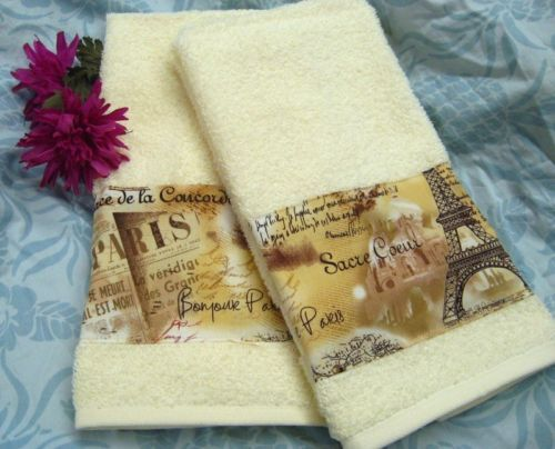 Pair Decorated Hand Towels Paris Eiffel Tower on Cream Hand Towels | eBay