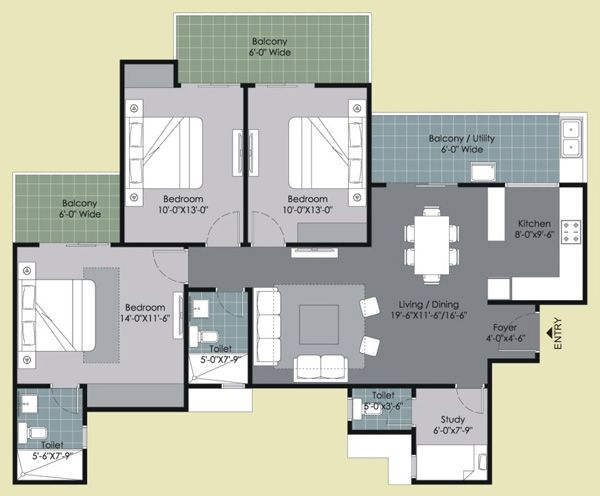 Type C : 3 Bed + 3 Toilet + Study (1695 sq. ft.) #GulshanHomz #GulshanIkebana #Sector143, #Noida, #NCR , #India