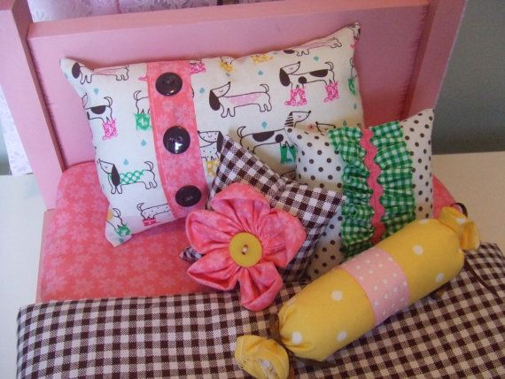 American Girl Doll Bedding - 5pc Set - Decorative Pillows n Coverlet Comforter - Dotson Dogs n Rain boots - Brown, Pink, Yellow and Green $23.99