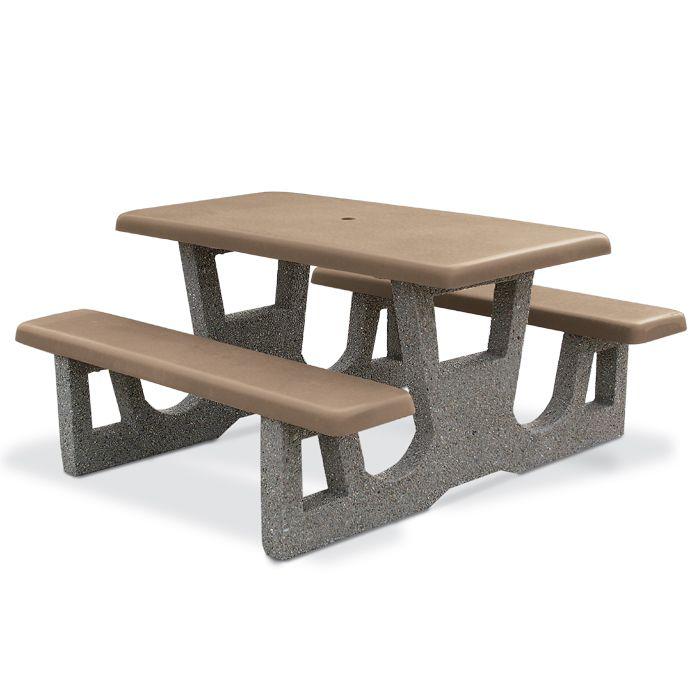 5u0027 Rectangular Concrete Picnic Table   Picnic Tables   Upbeat.com