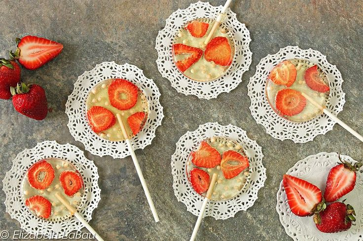 Strawberries and Cream Lollipops are elegant homemade lollipops with sugar pearls and real strawberries. These are perfect for showers and parties!