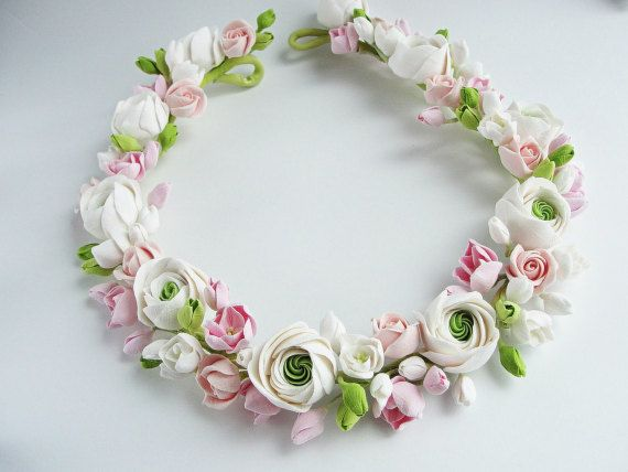 This gorgeous wreath is so authentic looking (and even feeling) that you would never know its not real.  Each flowers and details is handcrafted. Made by me completely by hand from air dry clay, which is non-toxic, soft and flexible. Very realistic, easy, elegant, graceful is perfect for both light and dark hair. Perfect for your romantic wedding day.  I love custom orders. I can also work designed specially for you. If you have any ideas or seen pictures of a fresh flowers youd like, you…