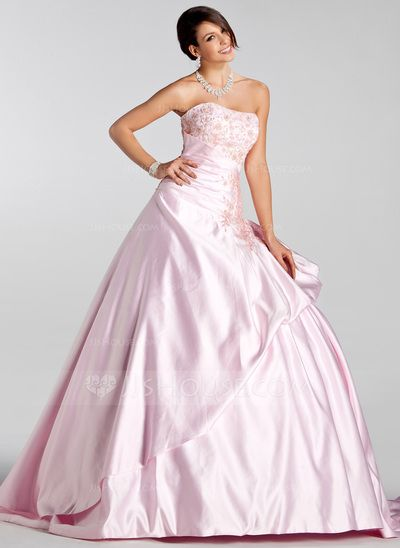 Fabulous Wedding Dresses Ball Gown Sweetheart Court Train Satin Wedding Dress With Embroidery