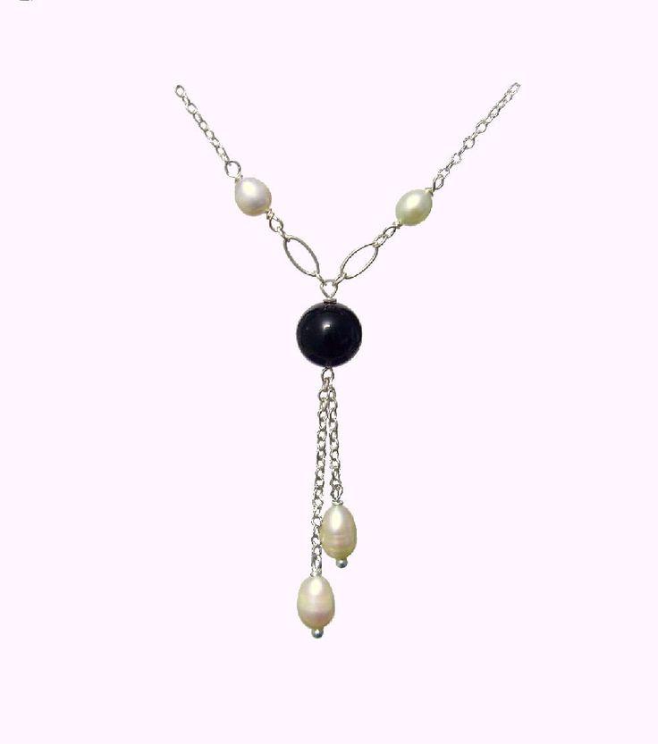 Black Onyx Necklace, Withe Freshwater Pearl Necklace,  925 Silver Necklace, Healing Chakra Protection Meditation Yoga Cancer Gemini Necklace de ArtGemStones en Etsy