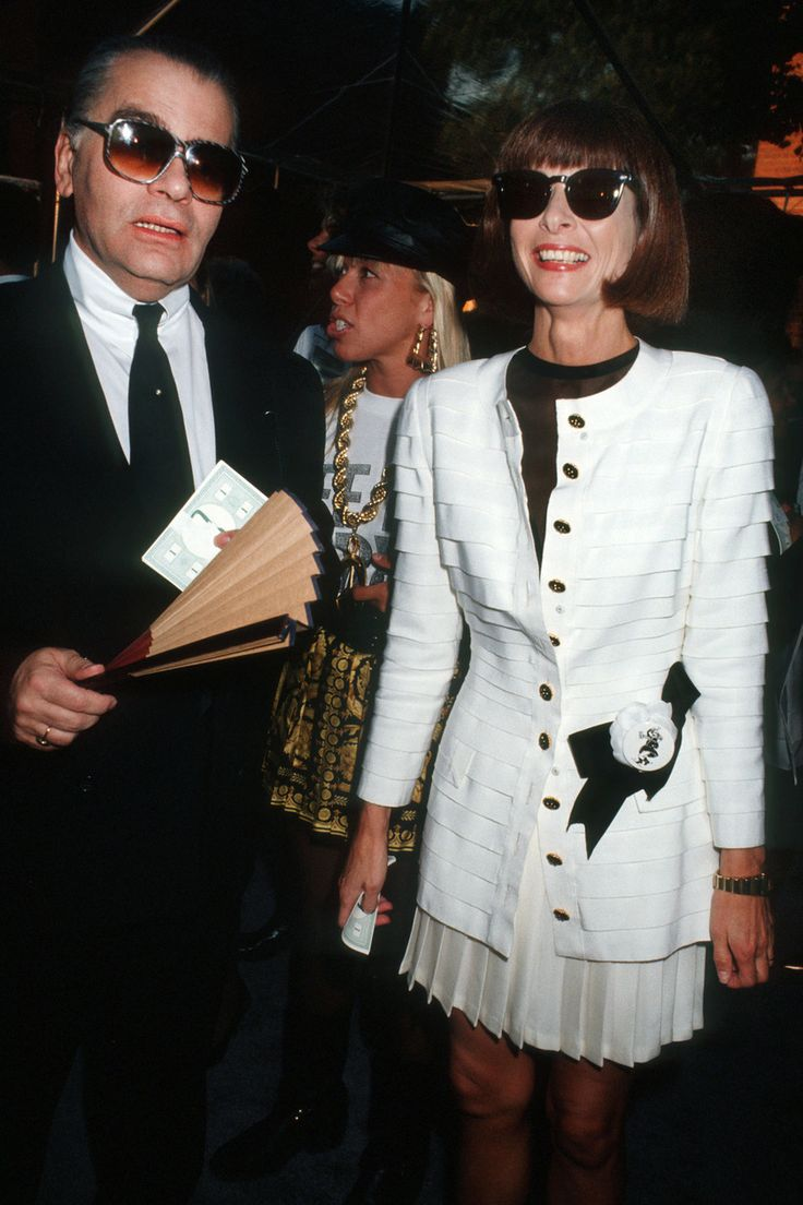 Anna Wintour with Karl Lagerfeld at Off the Street Citizens' Commitee for Children of New York Presented by Chanel at Bergdorf Goodman in New York City, 1991.
