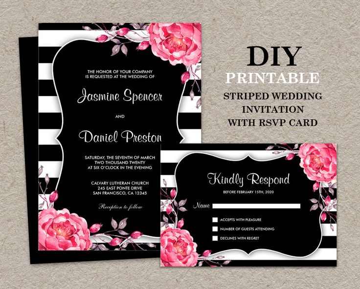 Floral Black And White Stripe Wedding Invitation With RSVP Card | Elegant DIY Printable Striped Invitations With Pink Watercolor Peonies by iDesignStationery on Etsy