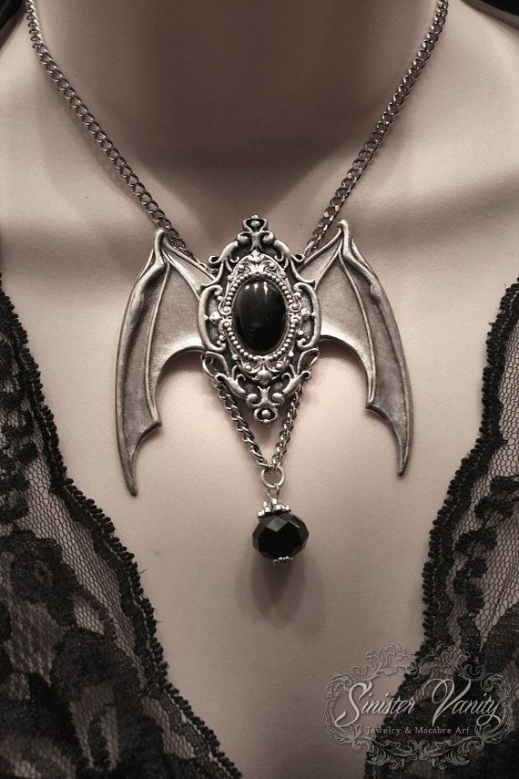 Gothic Bat Wing Silver Black Cameo Necklace by SinisterVanity, $45.00 so pretty!