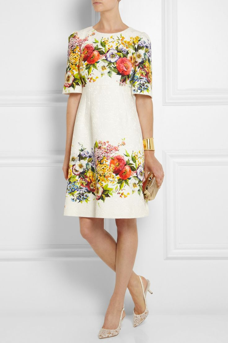 DG Floral-brocade dress [thebest1703] - $250.00 : Discounted Christian Louboutin,Jimmy Choo,Valentino,Giuseppe Zanotti and other Brand shoes., Christian Louboutin,Jimmy Choo,and Valentino