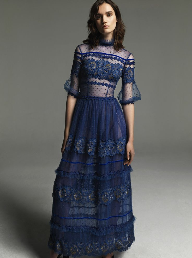 Costarellos Fall Winter 2017/18 - FW1770<br />Long Trimmed Dress with Mesh Upper Part and high neck