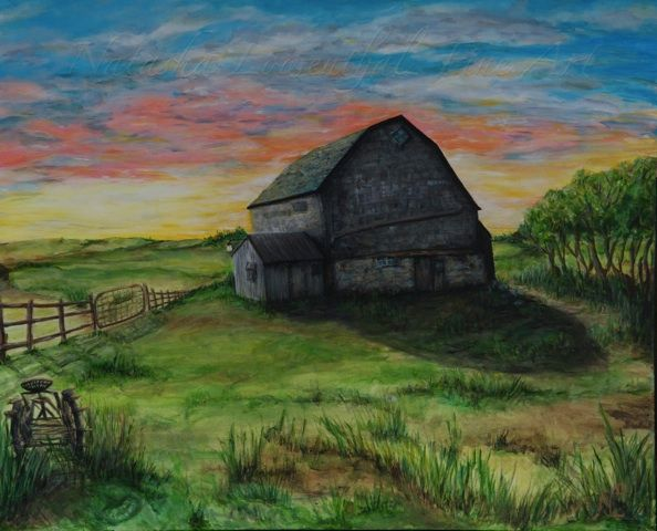 'Heritage Barn' by Natasha Lowenthal, barn painting, farm landscape, prairie landscape