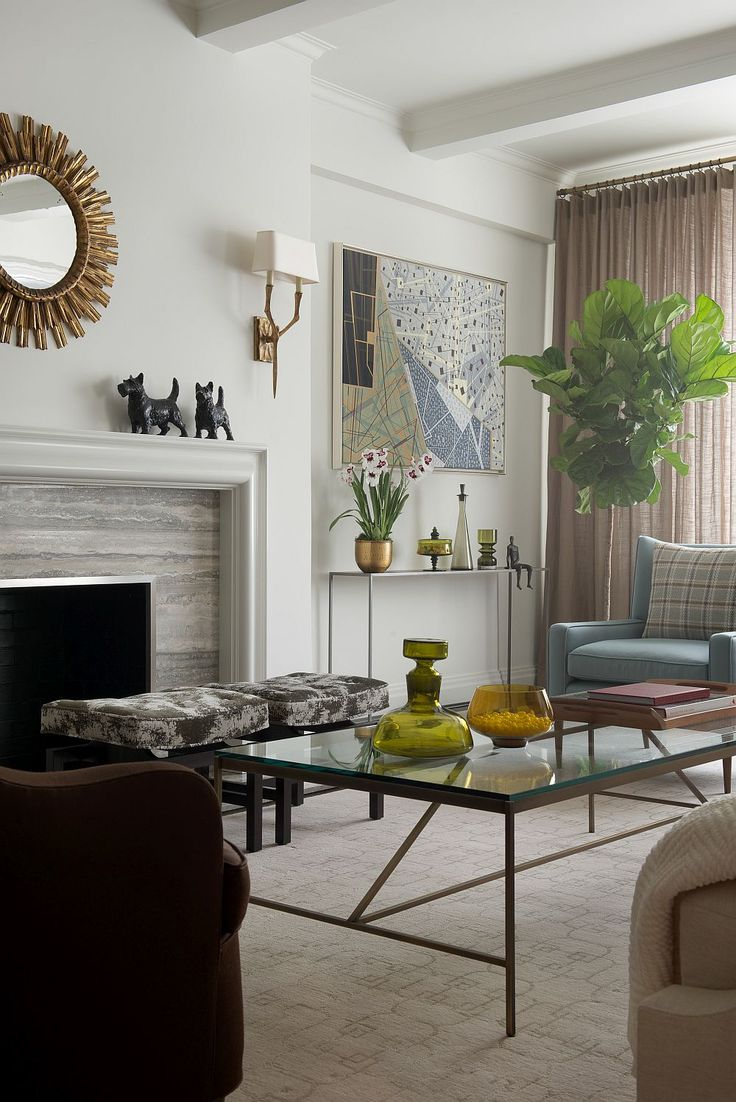 New fireplace with tv eclectic family room minneapolis - Contemporary New York Apartment With Chic Midcentury Vibe